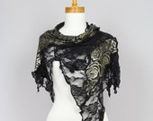 Black shawl/Gold flower/Lace shaw/Scarf shoulder warmer lace bohemian shirts shawl/Scarf shoulder/Cover gold flower/Lace stole