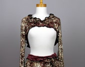 Crop top sweater/shrug burgundy gold//women top/ gold top cover/fitted top bolero/long sleeve top shrug/sexy short top sweater|pull top