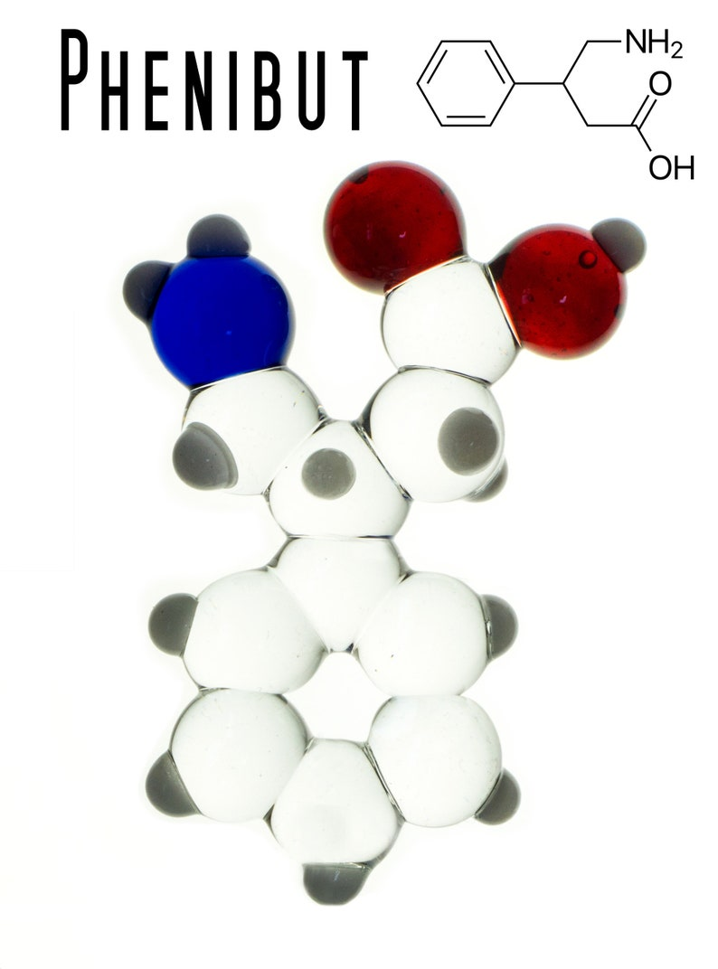 Phenibut Lampworked Glass Molecule Model - Standard Colors