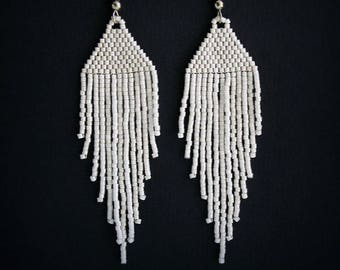 Long white seed bead earrings White earrings Fashion jewelry for women Beaded dangle earrings Lightweight earrings White beaded earrings