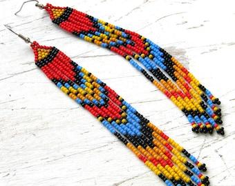 Beaded earrings for her Extra long earrings Fringe seed bead earrings Long fringe beaded earrings Beaded jewelry Hippie ethnic earrings gift