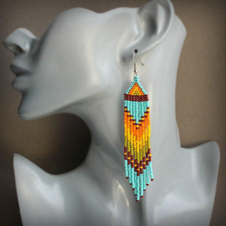 Long summer earrings Fringe seed bead earrings Hippie jewelry Long colorful earrings Hippie long beaded earrings Long dangle beaded earrings