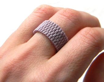 Minimalist ring, simple band ring, peyote beaded ring, wide band ring,  lilac beaded ring, minimalist jewelry, modern ring delica seed bead