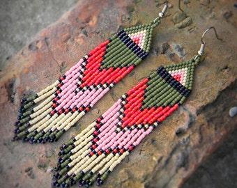 Colorful beaded earrings Long dangle earrings Ethnic jewelry Dangling earrings Boho earrings Hippie earrings Seed bead earrings Boho jewelry