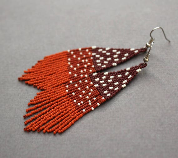 Long brown seed bead earrings Unusual beaded fringe earrings Cute dangle earrings for women Unique modern jewelry Nature inspired earrings