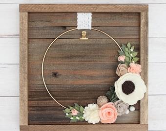 Small Ring Felt Flower Frame, Peach and Neutrals, 4x6 Photo