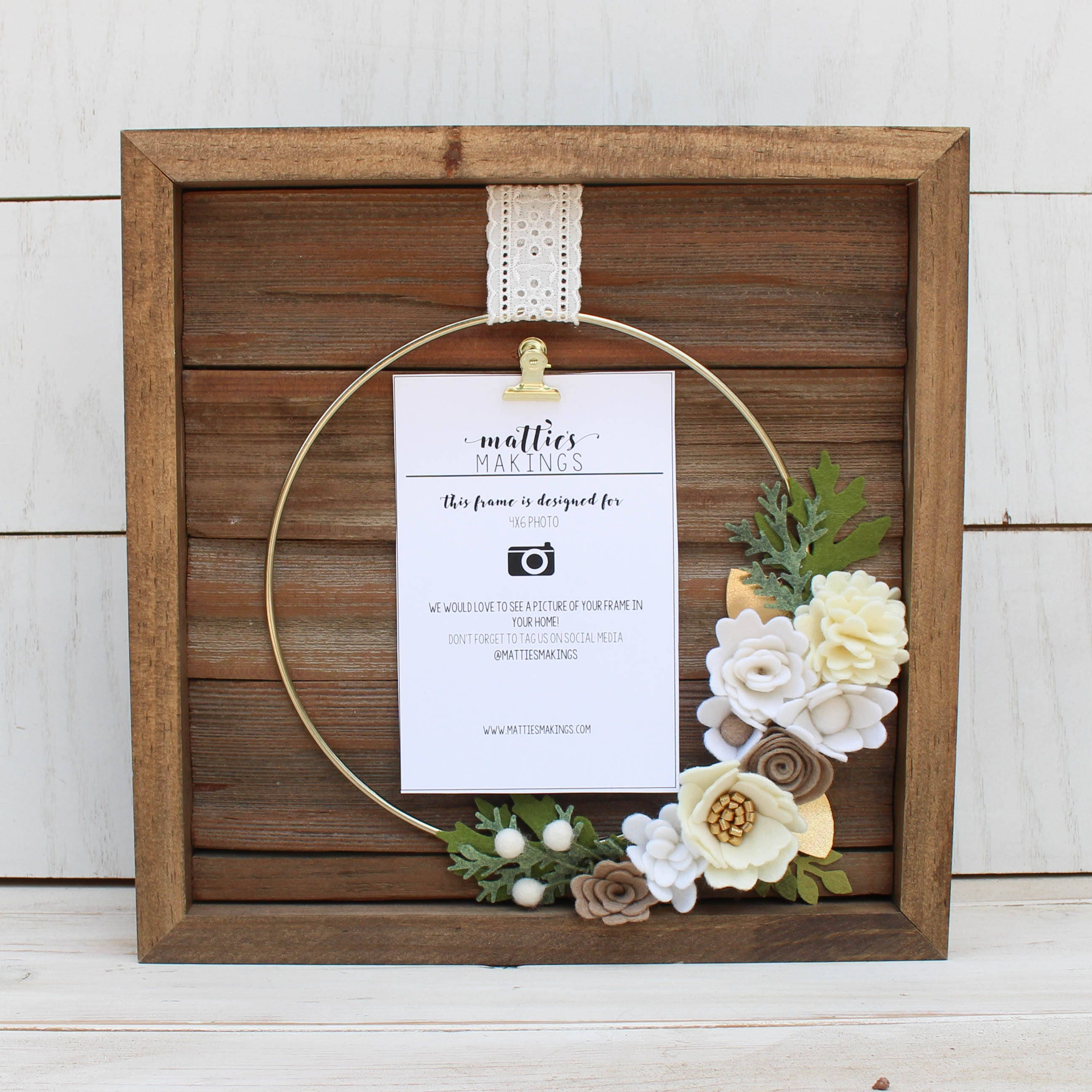 Small Ring Floral Frame 4x6 Photo 11x11 Overall