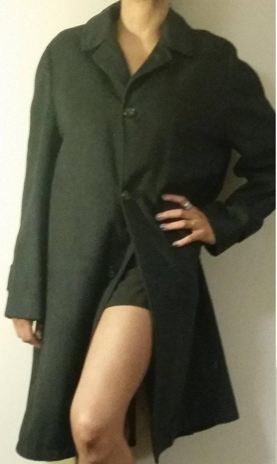 Vintage Wool Black Trench Coat