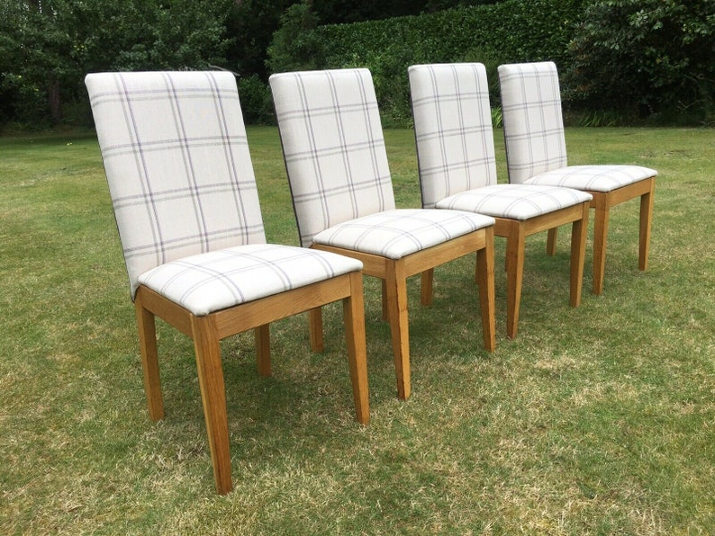 newest 15515 a8634 Four Refurbished Reupholstered Solid Oak Habitat Dining Chairs