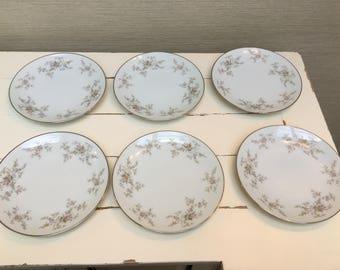 """Noritake China Six Sideplates """"Arlene"""" 5802 - Japan"""