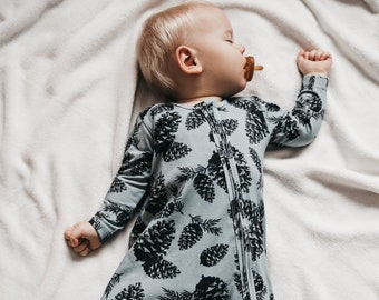 a6d1d1d6576 Baby romper organic cotton with pine cones