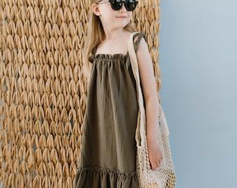 Muslin girl haki dress with laces, girl boho dress, girl summer dress, cotton dress, toddler dress, light dress, dancing dress