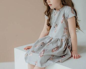 Baby dress, toddler dress, organic cotton kids dress, beige dress, baby girl outfit, baby first outfit, toddler girl dress, deers dress