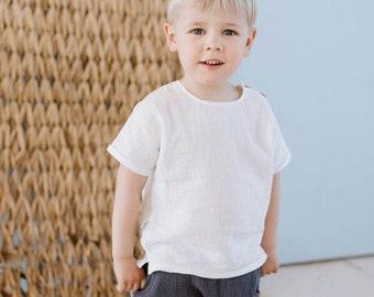 short sleeve boy white shirt from cotton muslin, wedding boy shirt