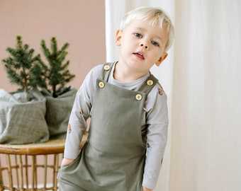 Dungarees for toddlers and babies, khaki green GOTS organic cotton baby bib and brace overall, neutral gender baby pants, baby outfit