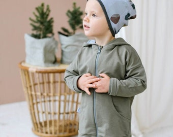 Organic cotton hooded jacket with zipper, toddler boy jacket, toddler boy hoodie, toddler girl jacket with hood
