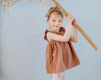 Girl rust muslin blouse, toddler girl blouse, rust girl muslin shirt