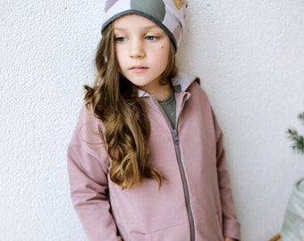 Organic cotton hooded jacket with zipper, toddler girl jacket, toddler girl hoodie, toddler girl jacket with hood
