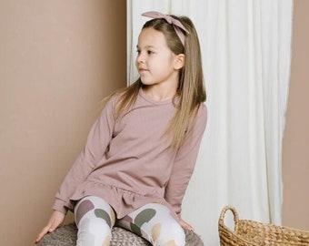 Girl's mauve sweater with ruffles, girl organic cotton sweater