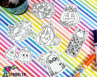 Halloween Coloring Stickers, Spooky Stickers, Trick or Treat Favor, Halloween Party Favor, Craft Kits, Halloween Crafts for Kids, Fall Party