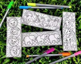 Safari Coloring Bookmark Set DIGITAL DOWNLOAD, Teacher Appreciation Gift Printable, Bookmark Kid, African Animal Coloring Pages, Party Favor