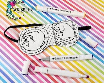 Cat Coloring Sleep Mask, Cat Sleep Mask, Stocking Stuffers for Mom, Birthday Gift for Teen Girl, Sleep Mask for Women, Cat Lover Gift