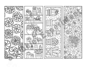 Succulent Coloring Bookmark Set DIGITAL DOWNLOAD, Teacher Appreciation Gift Printable, Succulent Gift, Bookmark Kids, Garden Party Printable