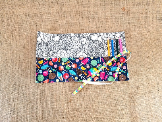 candy coloring pencil roll coloring fabric tween girl gift etsy