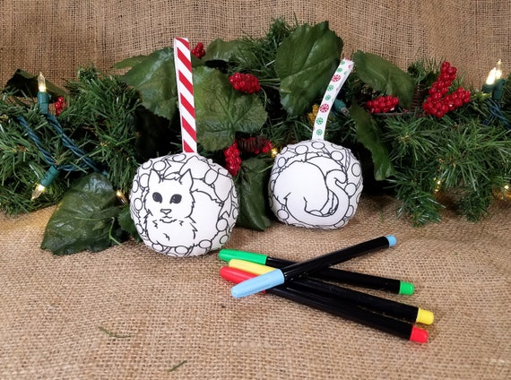 Christmas In July Coloring.Double Sided Cat Christmas Ornament Coloring Ornaments Cat Lover Holiday Gift Diy Christmas Ornaments Xmas Craft Kid Christmas In July