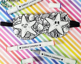 Starfish Coloring Sleep Mask, Stocking Stuffers for Women, Christmas Gifts for Mom, Birthday Gift for Teen Girl, Sleep Mask for Adults