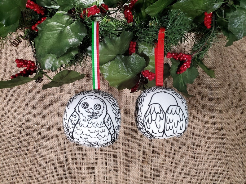 Christmas In July Coloring.Double Sided Owl Christmas Ornament Coloring Ornaments Diy Holiday Gift Christmas Craft Kid Christmas In July Owl Gifts For Women