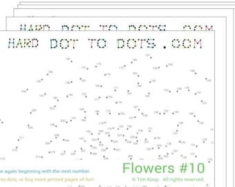 Flowers 10-Pack of Printable Hard Dot-to-dots (10 pages)