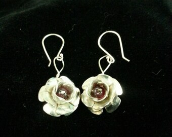 Sterling Silver Flower Earrings with Amethyst Beads