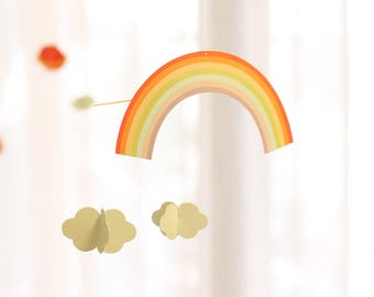 Rainbow Cloud Paper Mobile | Nursery Decor Hanging | Boy Girl | Baby Crib Mobile | Kids Room Decor