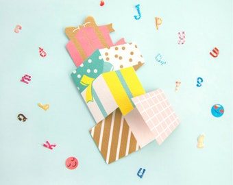 Cute Kawaii Colorful Illustrated Birthday Card | Happy Birthday | Just For You | Note Card | Greeting Card | Presents Gift Box
