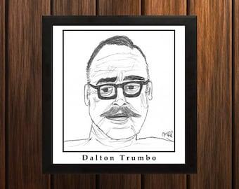 Dalton Trumbo - Sketch Print - 8.5x9 inches - Black and White - Pen - Caricature Poster
