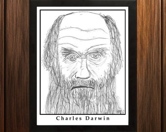 Charles Darwin - Sketch Print - 8.5x11 inches - Black and White - Pen - Caricature Poster