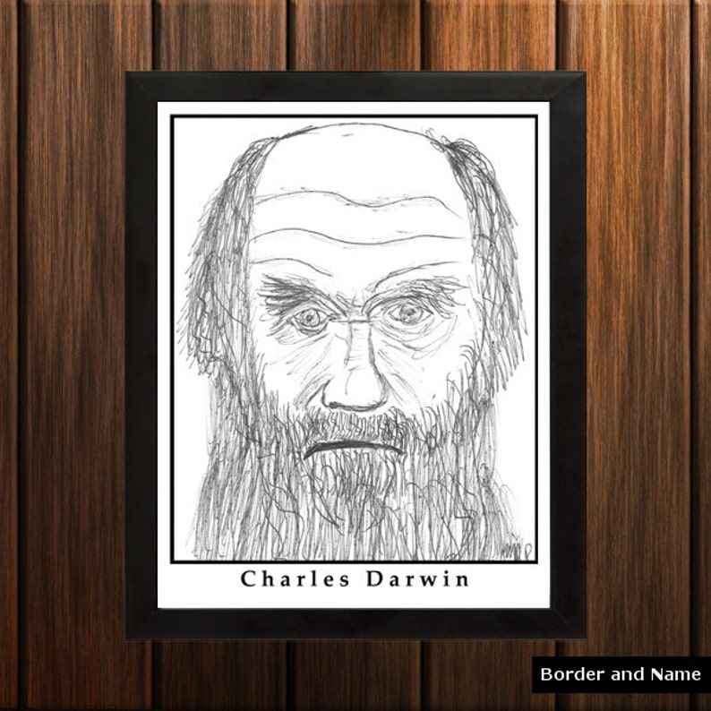 Charles Darwin  Sketch Print  8.5x11 inches  Black and image 0