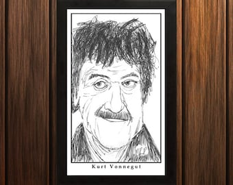 Kurt Vonnegut - Sketch Print - 6.5x11 inches - Black and White - Pen - Caricature Poster