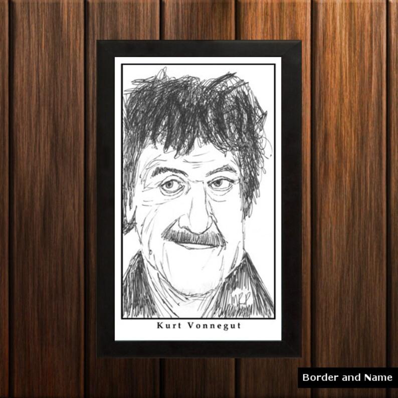 Kurt Vonnegut  Sketch Print  6.5x11 inches  Black and White image 0