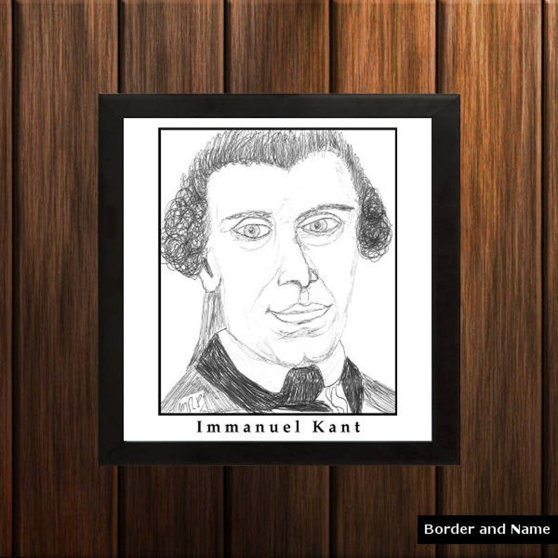 Immanuel Kant  Sketch Print  8.5x9 inches  Black and White image 0