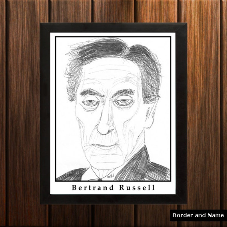 Bertrand Russell  Sketch Print  8.5x11 inches  Black and image 0