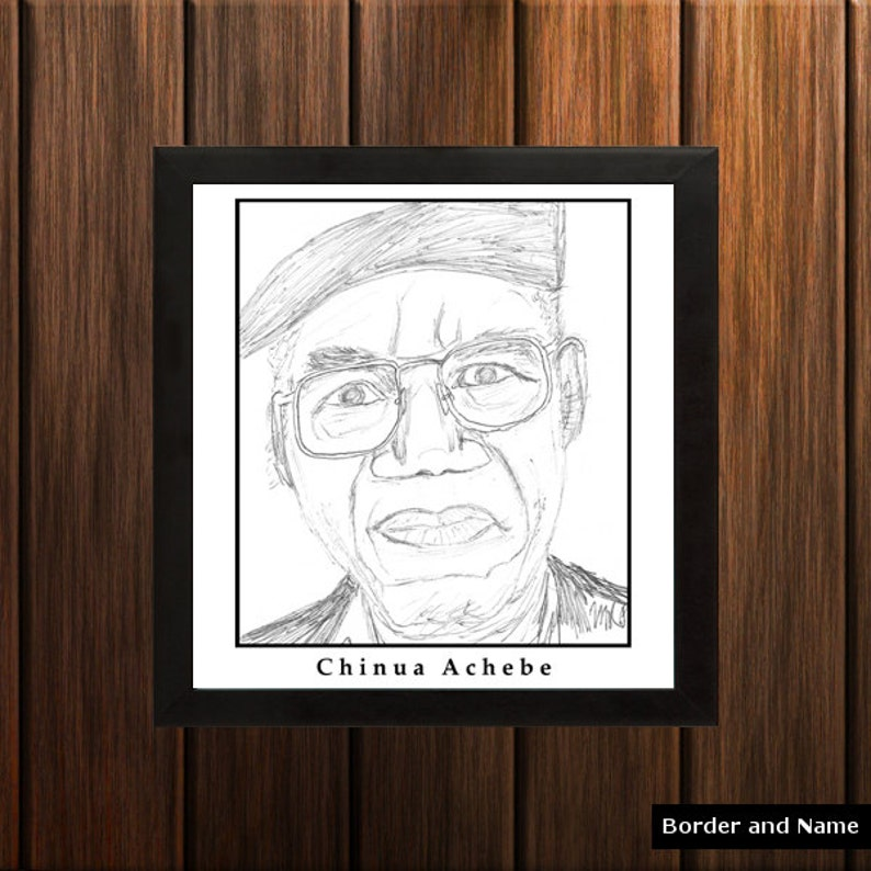 Chinua Achebe  Sketch Print  8.5x9 inches  Black and White image 0