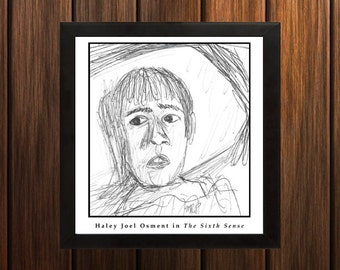 Haley Joel Osment (The Sixth Sense) - Sketch Print - 8.5x9 inches - Black and White - Pen - Caricature Poster
