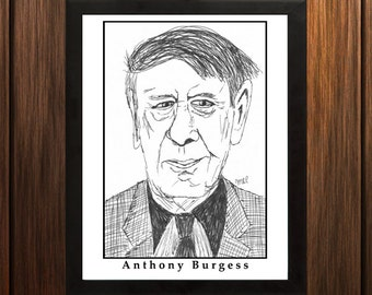Anthony Burgess - Sketch Print - 8.5x11 inches - Black and White - Pen - Caricature Poster