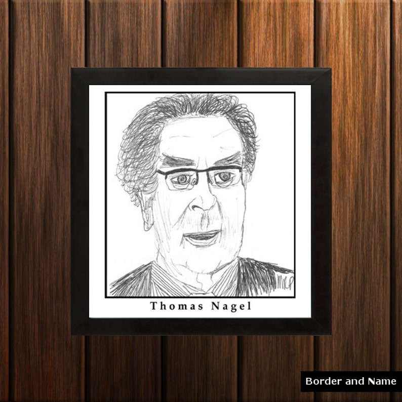 Thomas Nagel  Sketch Print  8.5x9 inches  Black and White  image 0