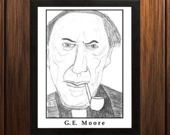 G.E. Moore - Sketch Print - 8.5x11 inches - Black and White - Pen - Caricature Poster