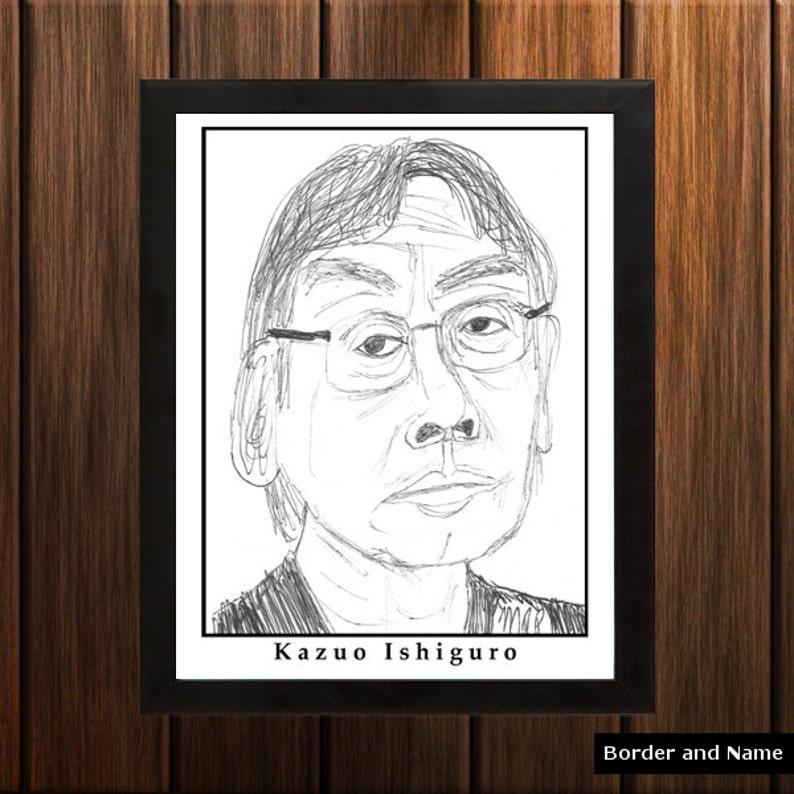 Kazuo Ishiguro  Sketch Print  8.5x11 inches  Black and image 0