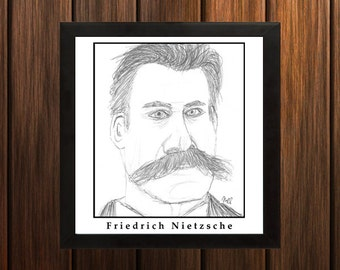 Friedrich Nietzsche - Sketch Print - 8.5x9 inches - Black and White - Pen - Caricature Poster