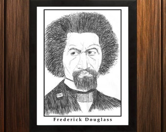 Frederick Douglass - Sketch Print - 8.5x11 inches - Black and White - Pen - Caricature Poster